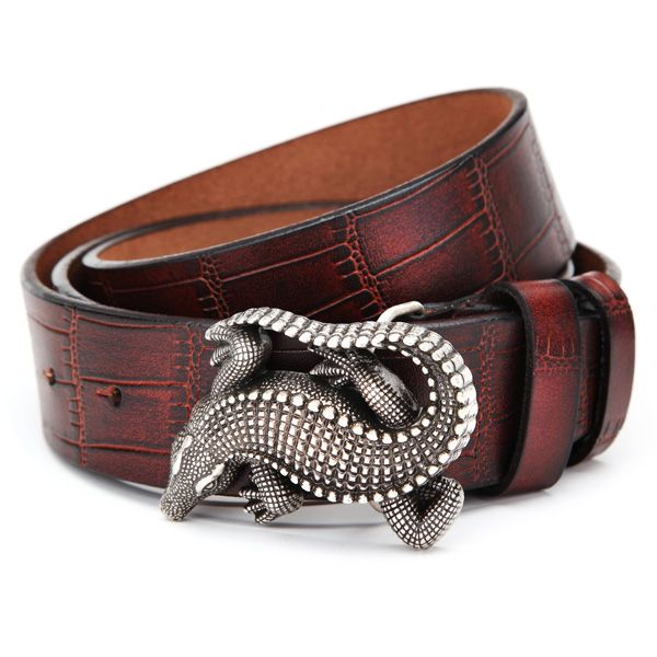 115CM Mens Belt Peritoneal Second Layer Leather Alligator Crocodile Buckle Jeans Strip