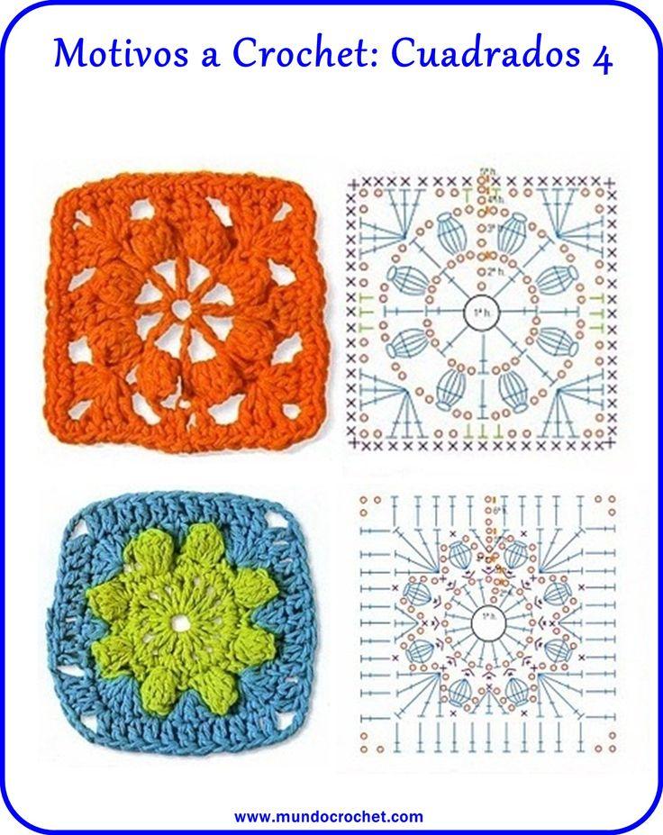 Motivos a crochet: Cuadrados - Mundo Crochet