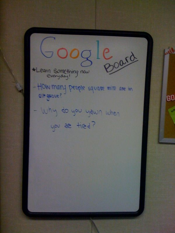 When students ask a question no one in the class knows (including myself), they can put it up on the Google Board. Students can bring back a written answer to one of the questions of their choice each week for extra credit, or whatever incentive you choose. They get really excited when a question comes up that they can put on the board and find out the answer to later...
