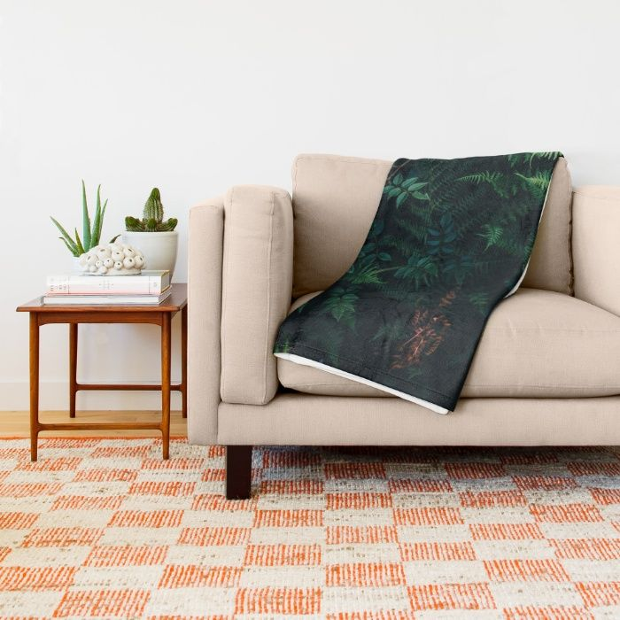 Fleurs Vertes Throw Blanket by Mixed Imagery | Society6