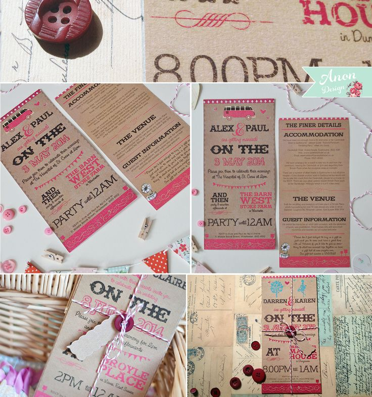 paper style wedding invitations%0A Devon Barn Vintage Brown Paper Wedding Invites   u   cAn easily customisable DIY  vintage festival