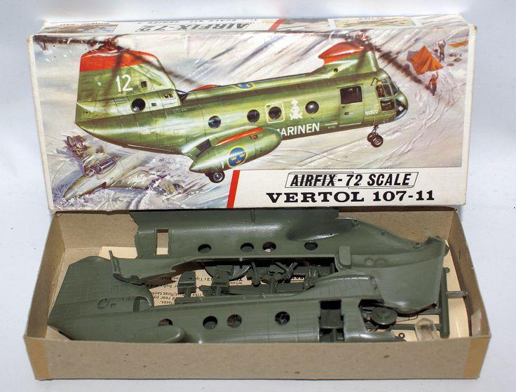 Vintage AIRFIX 1:72 Scale BOEING VERTOL 107-11 HKP-4 Airplane Model Kit 296
