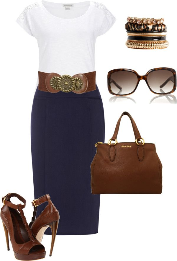 """white top navy skirt"" by missyalexandra on Polyvore. I can't do the shoes but still love the look of it all"