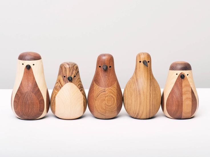 {Re-Turned wood birds} by Norwegian designer Lars Beller Fjetland