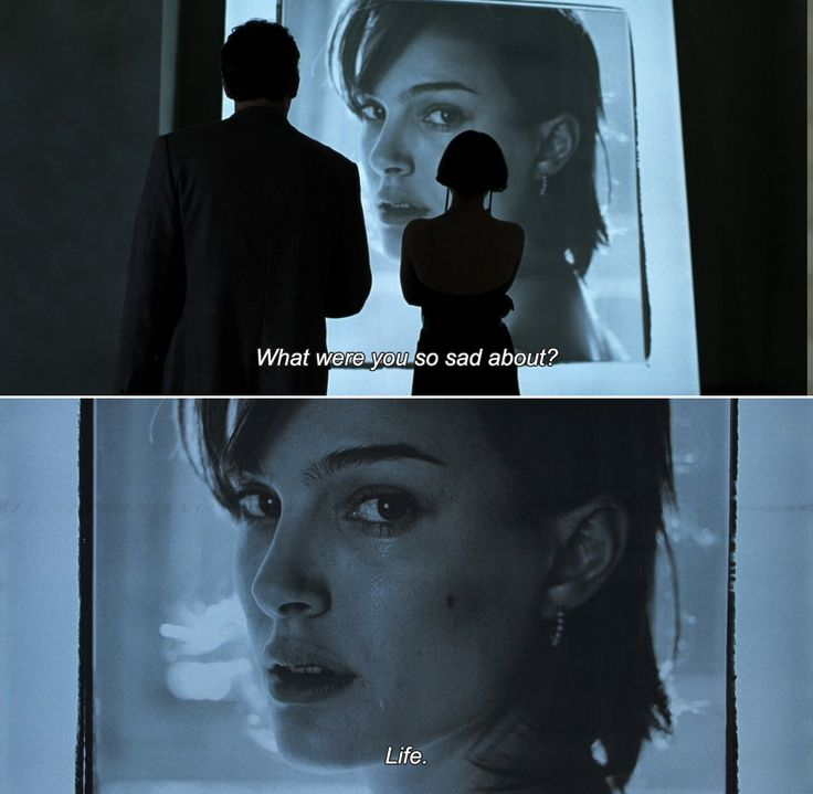 """Closer (2004). Larry Gray is played by Clive Owen and Alice Ayres, a.k.a. Jane Jones is played by Natalie Portman. Larry: """"What were you so sad about?"""" Alice: """"Life."""""""