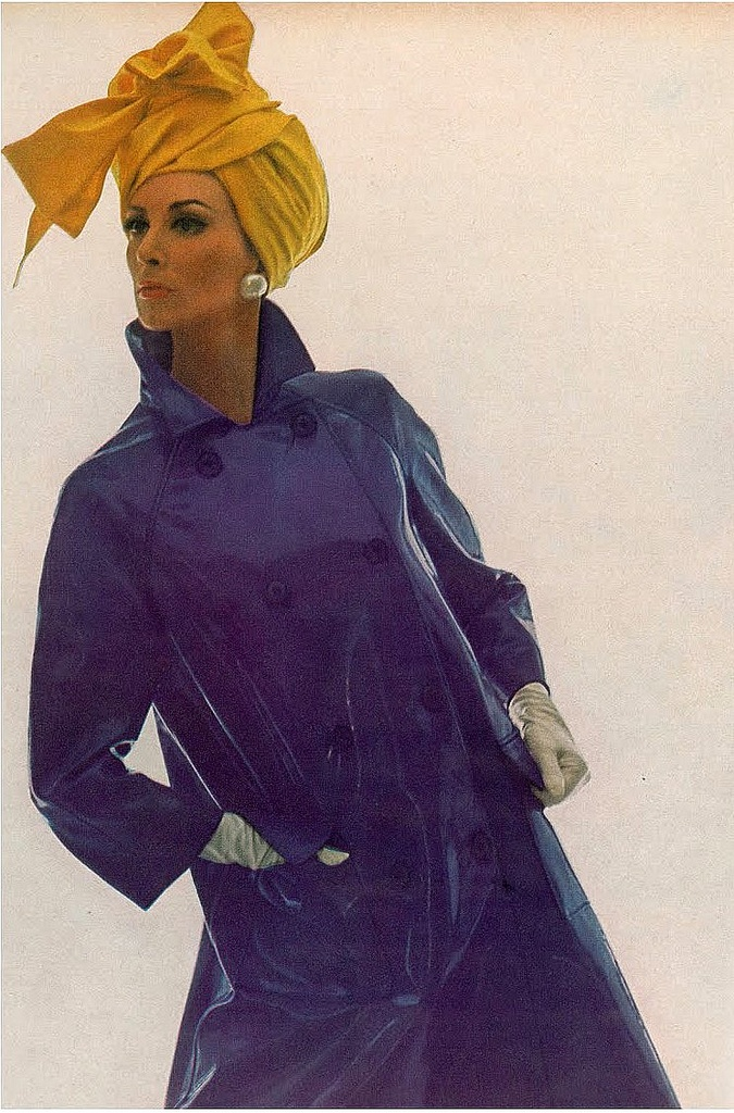 Wilhelmina in a violet vinyl coat by Modelia and hat by Adolfo, photo by Bert Stern 1965  #millinery #judithm #hats