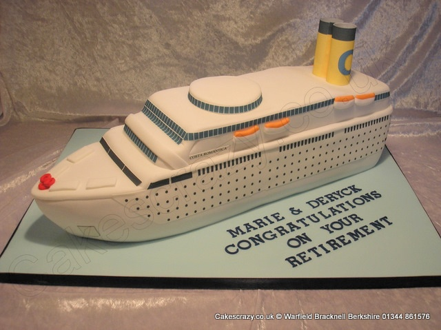 Cruise Liner Cake. Hand cut and shaped three dimensional cruise liner cake.  Great for retirements, weddings, anniversaries, or just lovers of ships at sea