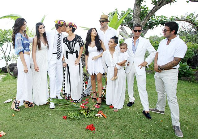 Kardashian-Jenner Family As their family -- including their kids' significant others -- stood nearby, Kris and Bruce Jenner renewed their wedding vows during an April 2011 trip to Bora Bora.