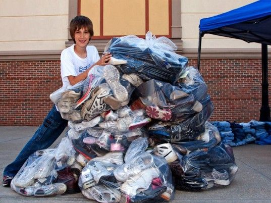 12-Year-Old Boy Saves 4,000 Pairs of Shoes From the Landfill for Recycling via @Ecouterre