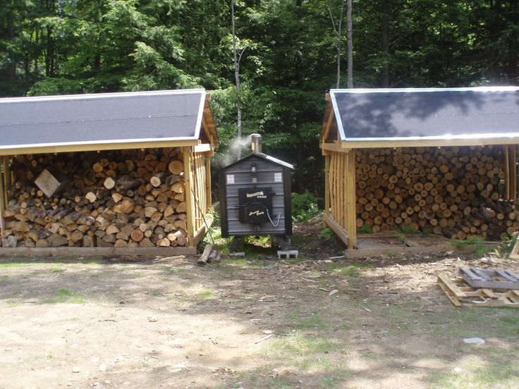 Outdoor wood burning furnace, except I want the furnace covered with a roof (and vented through the roof of course)