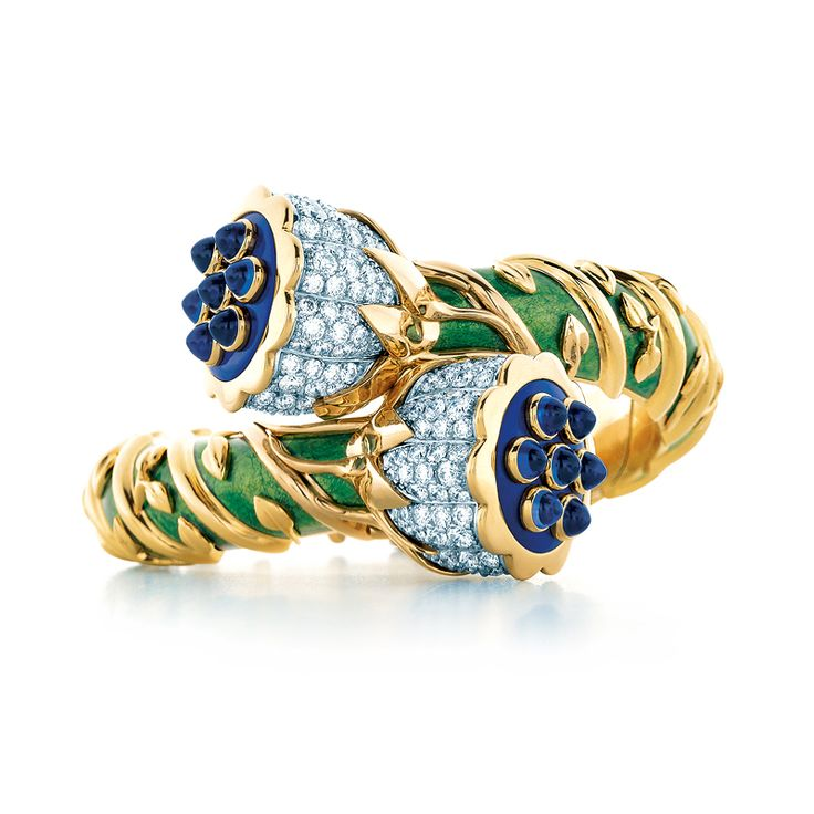Tiffany & Co. Schlumberger® Lotus bracelet in paillonné enamel and 18k gold with diamonds, lapis lazuli and sapphires. #TiffanyPinterest