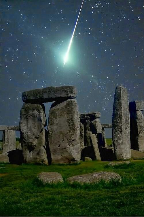 Stonehenge. (Note: Stonehenge is real, but the comet is photoshopped into this picture.)
