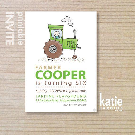 GREEN tractor  - kids invitation - boys invitation - childrens invitation -  printable invitation - farm tractor - LITTLE FARMER on Etsy, $20.00 AUD
