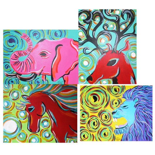 Custom Animal Painting Acrylic Painting Animal by ToniTiger415 ($40) found on Polyvore