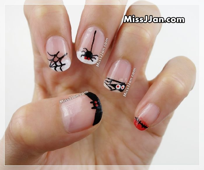 Halloween Nail Art | 5 Cute and Easy Designs | French Manicure Style | MissJJan ❥ #NailArt #HalloweenNails #HalloweenNailArt #HalloweenManicure #DIY #HowTo #Bat #SpiderWeb #Spider #Mummy #Stitched #MissJJan #Manicure
