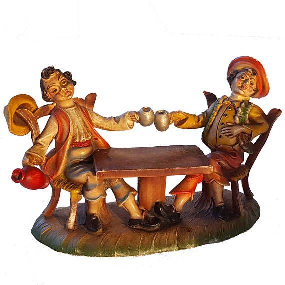 FONTANINI TAVERNA REVELERS, vintage Italian figure of old fashioned bar scene, rustic figurine / resin or plastic 332/300