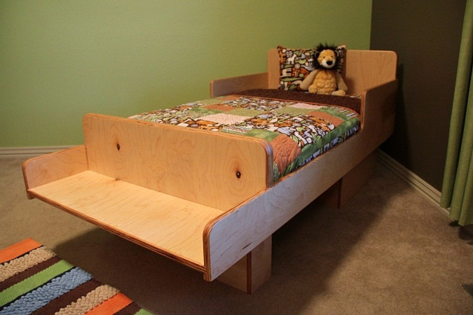 Maple Plywood - Toddler Bed With Reading Bench and Underneath Storage. $475.00, via Etsy.