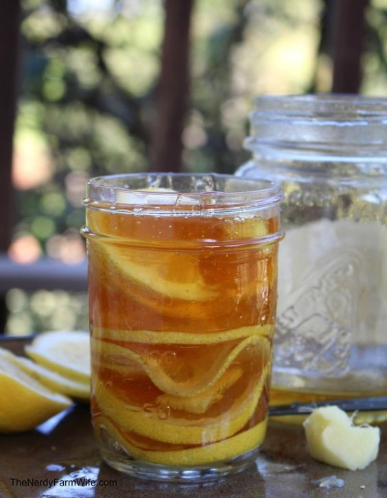 """Ginger Lemon Honey Tonic for Colds & Flu Directions: Slice lemon thinly, remove seeds. Cut a 1"""" pieces ginger root Pour a little honey in the bottom of a jar. Add lemon slice, one or two chunks of ginger. Honey to cover, Repeat layers, Cover w/plastic, Store in fridge."""