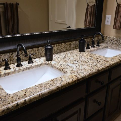 Could be OK.  Bathrooms - Santa Cecilia granite countertops, bathroom vanity, granite vanity, Santa Cecilia, material from Levantina Dallas