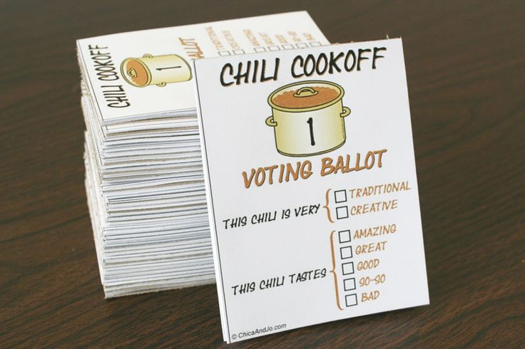 Chili cook-off voting ballots