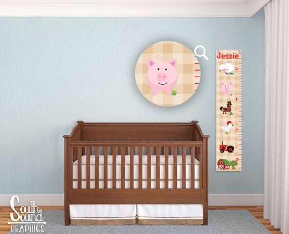 Kids Growth Chart - Boy or Girl Room Wall Decor - Farm Animals Custom Wall Hanging - Children's Personalized Growth Chart - Farm Bedroom
