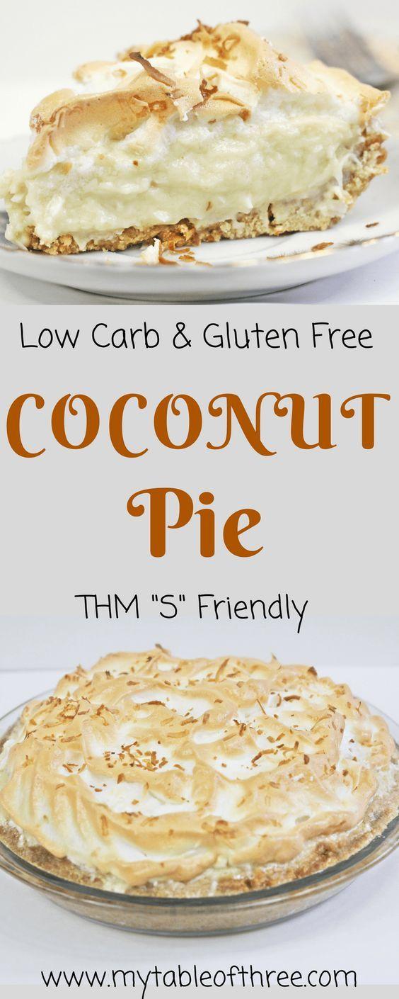 Low Carb Coconut Cream Pie    Sugar Free, Gluten Free, Trim Healthy Mama, Low Carb, Keto Friendly