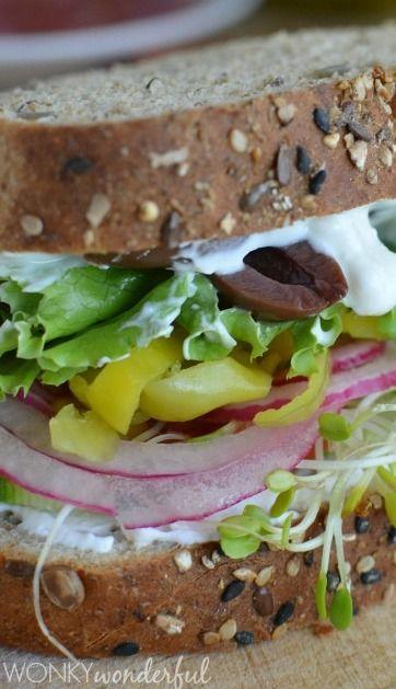 Greek Vegetable Sandwich with Feta Spread