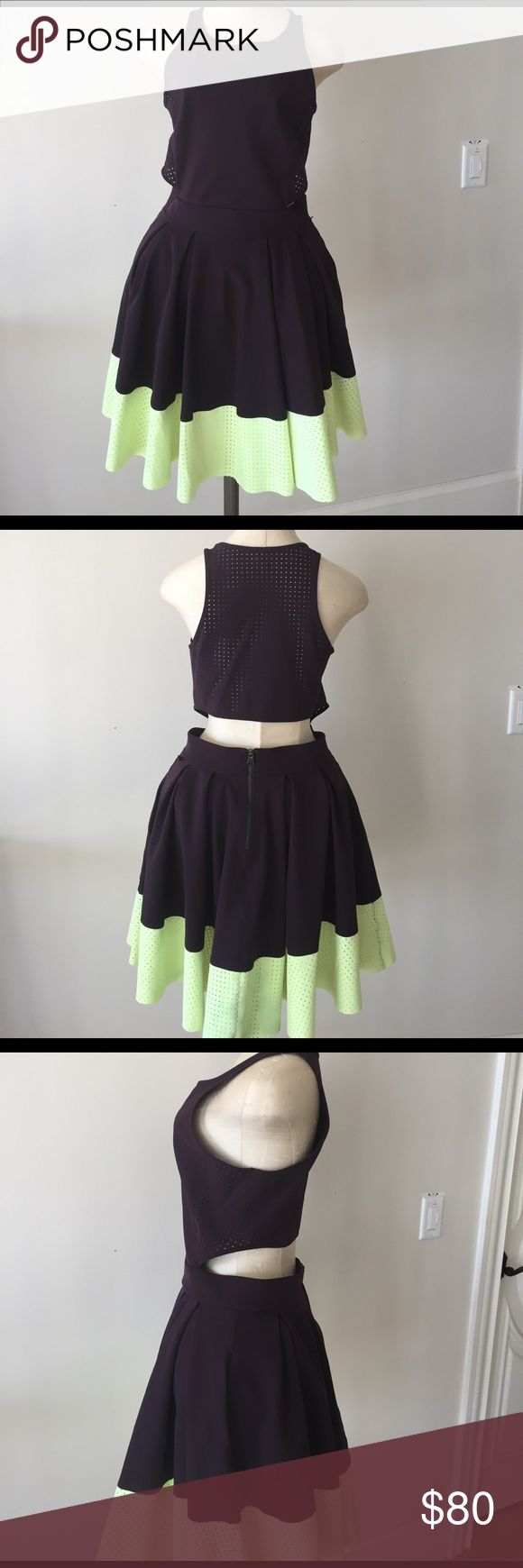 Lululemon dress Lululemon burgundy and lime green dress. Extremely flattering and comfortable with side/back openings and mesh upper back. Worn once, in excellent condition. lululemon athletica Dresses Mini