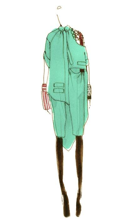 """Turquoise Girl."" Myrtle Quillamor. 2010 #fashion #illustration #sketch"