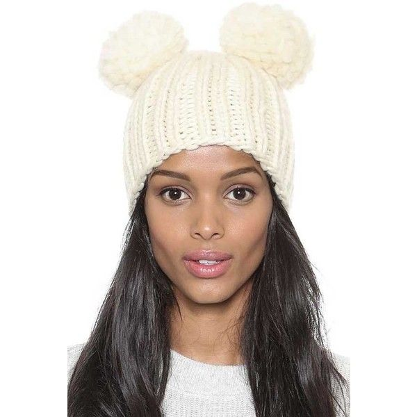 Ivory Solid Color Thick Knit Top Balls Beanie Hat ($19) ❤ liked on Polyvore featuring accessories, hats, ivory, white winter hat, knit hats, knit beanie hats, knit beanie and beanie hats