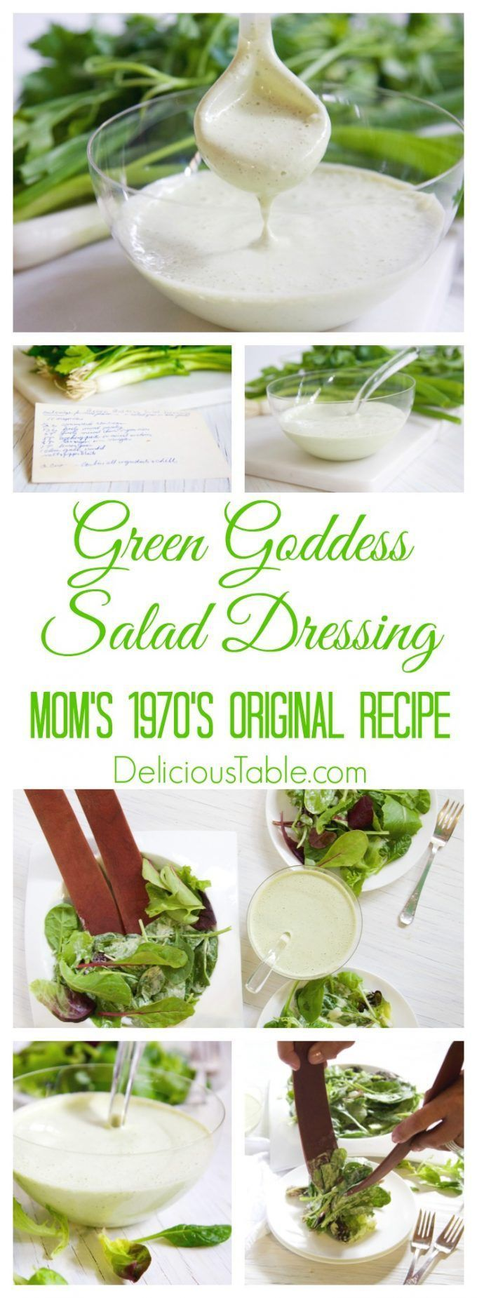 Mom's Original 1970's Green Goddess Salad Dressing is divine over a simple salad mix. Bursting with fresh herb flavor, and a very popular in the 1970's!