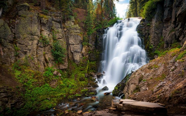 Download wallpapers mountain waterfall, river, rocks, forest, stones, beautiful waterfall