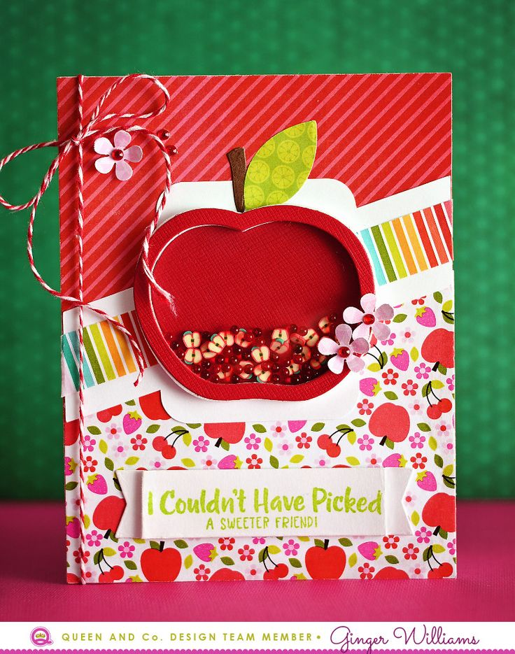 How to make an easy apple shaker card! Use the Fruit Basket Shaker Card kit from Queen and Company!