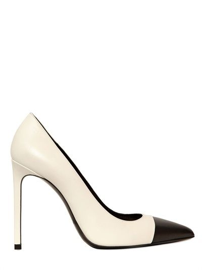 Shop now: Saint Laurent 105mm Paris Two Toned Pointed Pumps