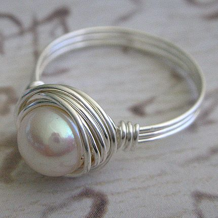 love pearls: Wire Jewelry, Pearl Rings, Mothers Day Gifts, Wire Rings, Birds Nests, Pearls Rings, Sterling Silver, So Pretty, Wire Wraps Rings