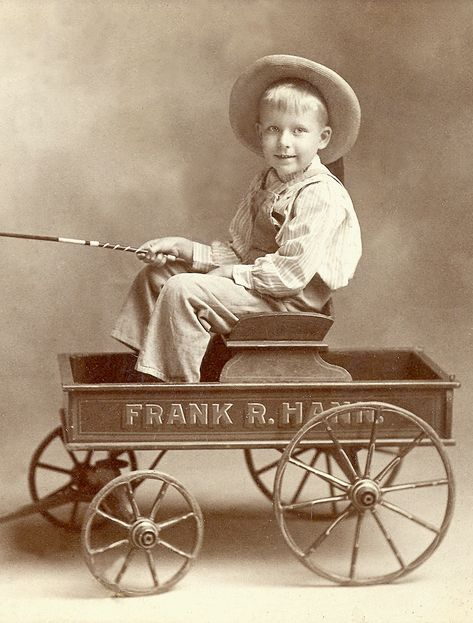+~+~ Vintage Photograph ~+~+  Boy in wagon