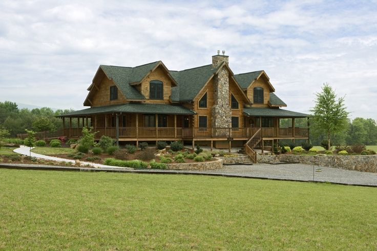 Love log houses wrap around porches just like it for Log cabin house plans with wrap around porches