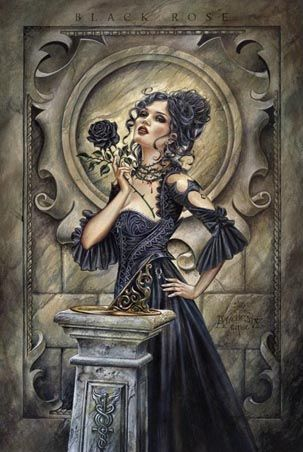 Art Maxi Poster: Formed in 1977, Alchemy Gothic is now renowned across the globe for its amazing pieces of fantasy art, which combine dark, gothic symbols with stunningly beautiful flowers and women to create breath taking images. Entitled 'Black Rose', this great poster is another superb example of Alchemy Gothic at its best, featuring a delicate lady in an elaborate gown standing by a sundial, with a thorny rose of the blackest black carefully held between her fingers.