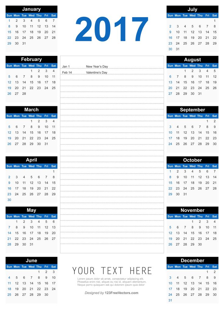 Más de 25 ideas increíbles sobre 2017 yearly calendar template en - yearly calendar template