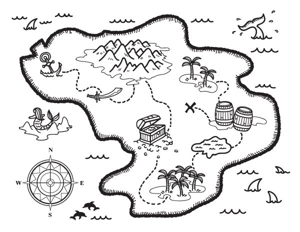 Free treasure map coloring page. Download it at https