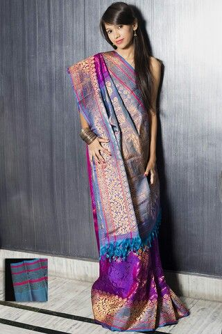 Purple and Turquoise Gadwal Silk Saree