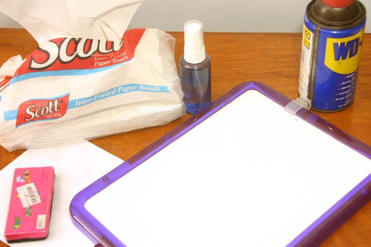 Clean white board with white board cleaner. Spray with WD40 or car