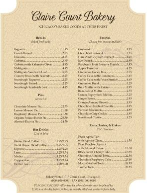 Customize Antique Bakery Menu