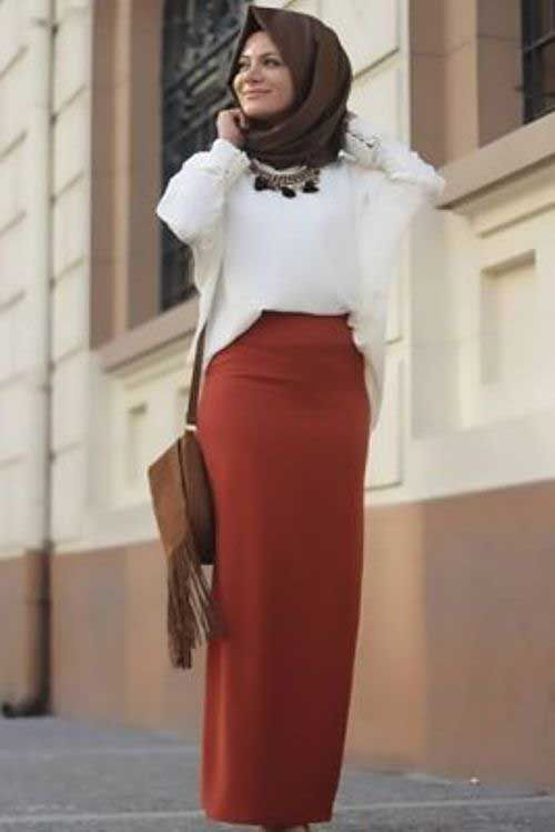 rusty-pencil-skirt-hijab-look- Winter hijab trends http://www.justtrendygirls.com/winter-hijab-trends/