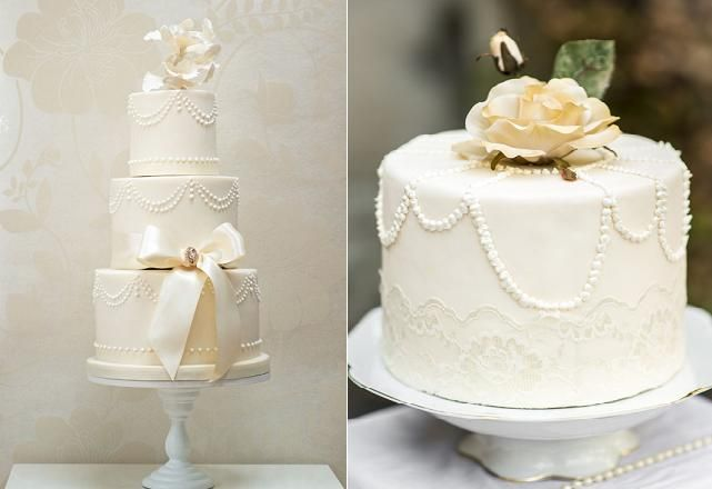 piping techniques with cakes from Rosalind Miller (left) and via Pinterest (righ