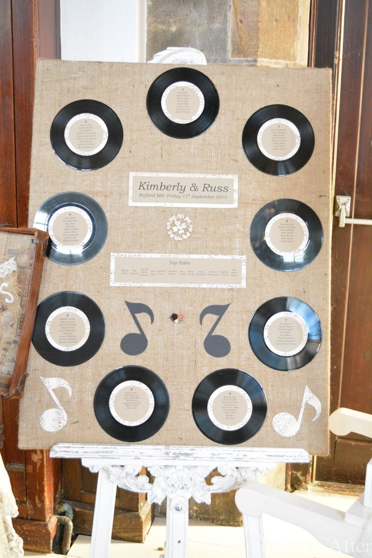 A rustic table plan with a retro music theme. Using old vinyl records and hessian.