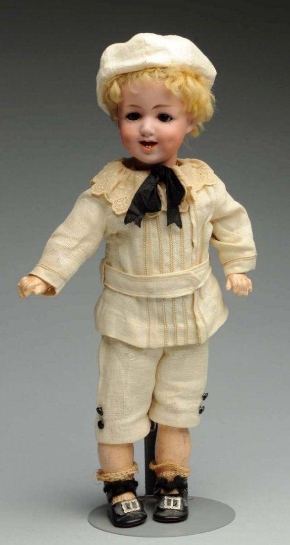Gebrüder Heubach — Bisque Socket Head Boy in Cream Linen Suit with Hat