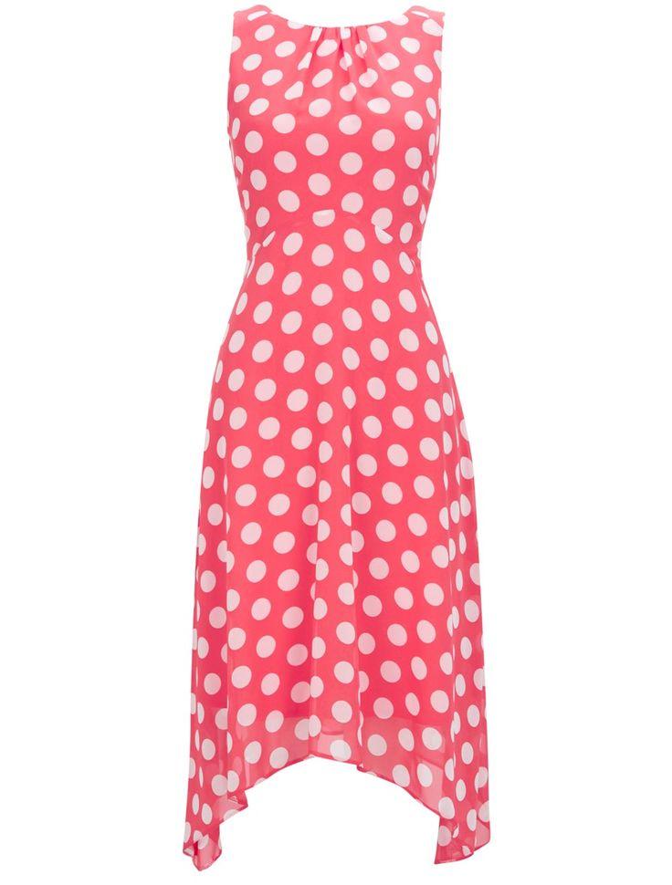 Pink polka dot summer wedding guest dress from Wallis