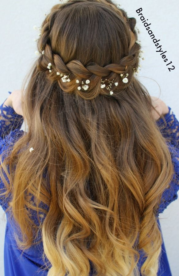 Beautiful Half Up Crown Braid Hairstyle Idea by Braidsandstyles12. Half up Hairstyles, Bridal hairstyles, Summer Hairstyles, Braids