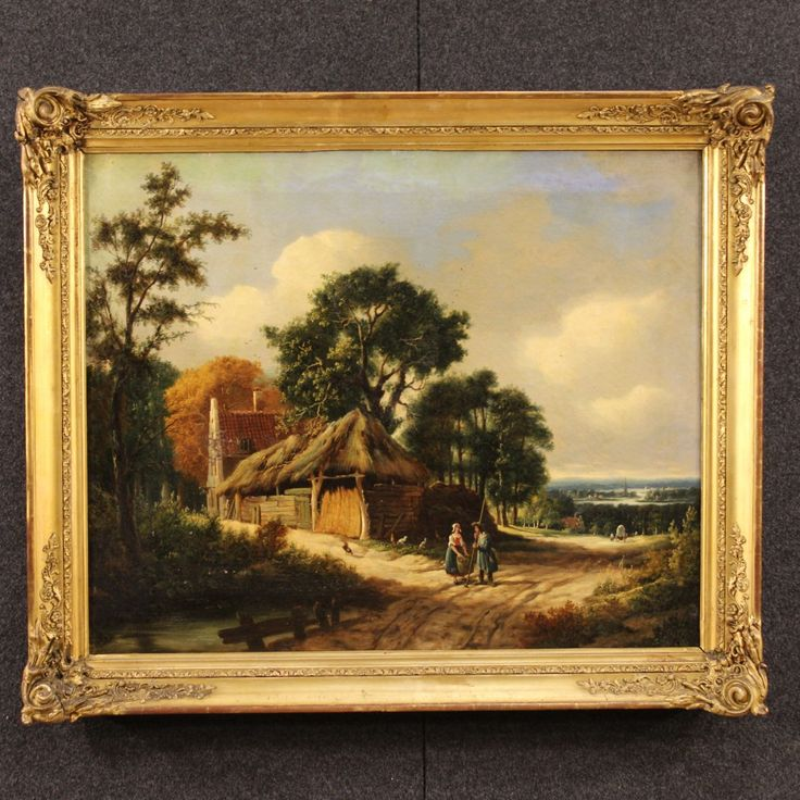 Price: 2200€ Dutch painting from the late 18th century. Work of art oil on canvas depicting landscape with figures. Painting rich in details with exceptional view in the right background. Carved and gilded frame made by wood and plaster from the 19th century. It presents some drops of color, on the whole in good state of conservation. #antiques #antiquariato Visit our website www.parino.it